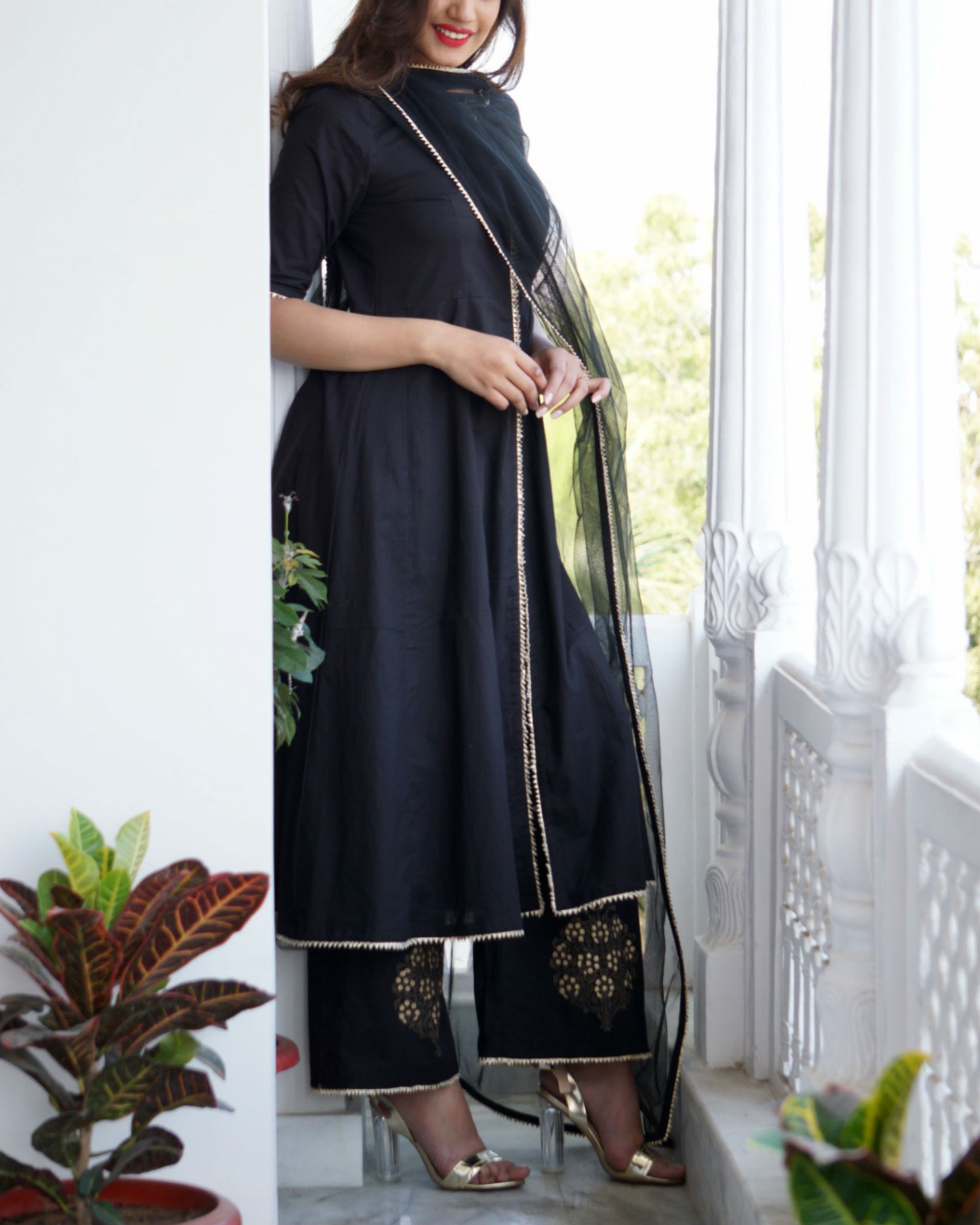 Ihram Kids For Sale Dubai: Black Kalidar Top With Gold Print Palazzo And Dupatta By