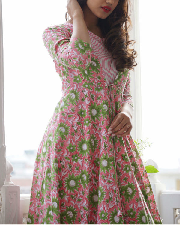 Pink and green floral maxi jacket 2