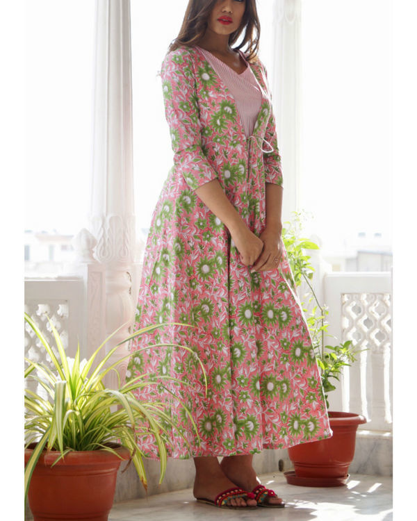 Pink and green floral maxi jacket 1