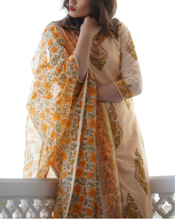 Peach chanderi set 1