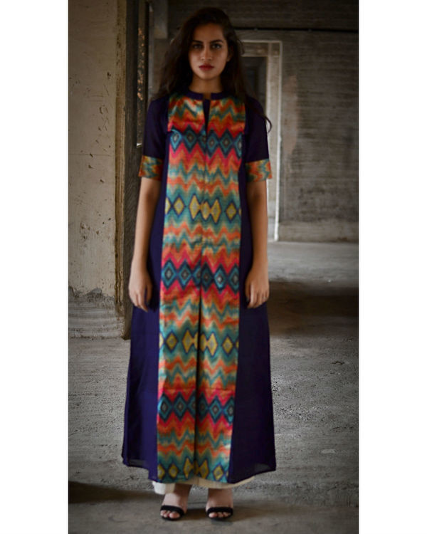 Navy blue multi color zig zag slit maxi dress 2