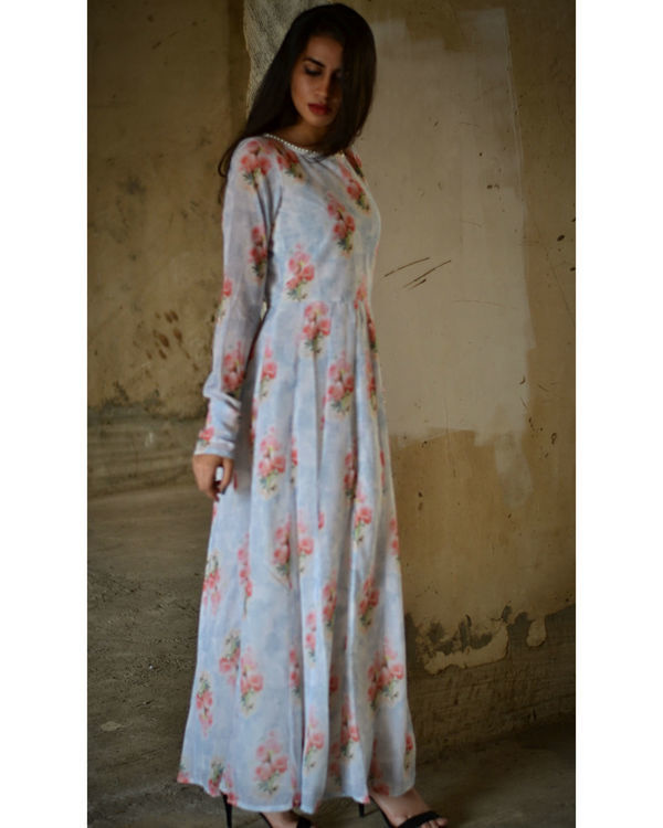 Pale grey and red floral maxi dress 1