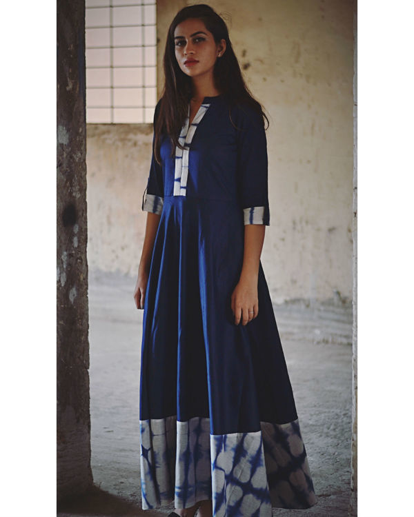 Indigo tie and dye dress with dupatta 2