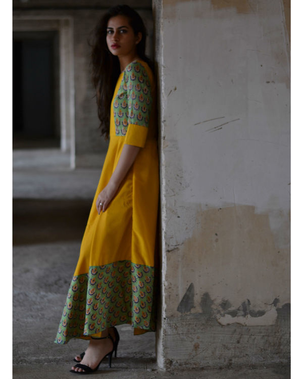 Yellow and green flower dress with dupatta 2