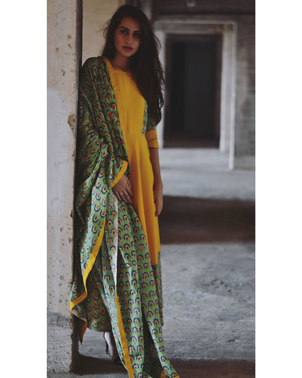 Yellow and green flower dress with dupatta 1
