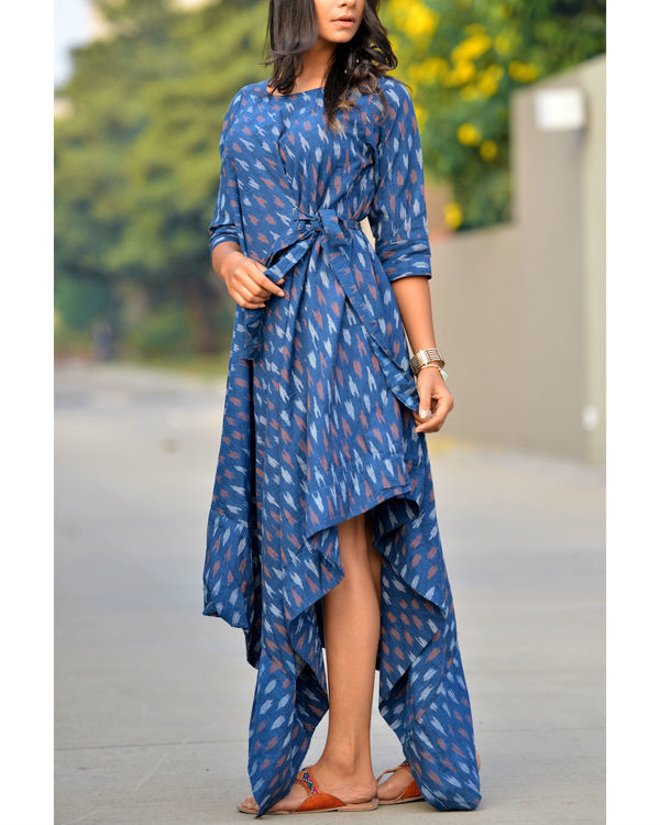 Blue asymmetric tie up kurta 2