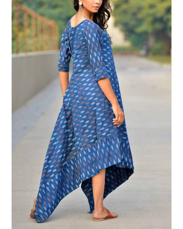 Blue asymmetric tie up kurta 1