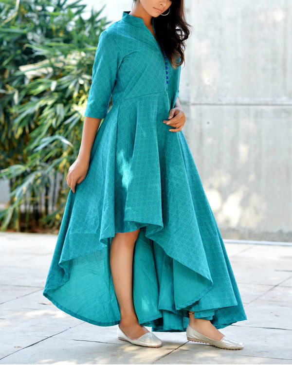 Teal high low flare kurta 2