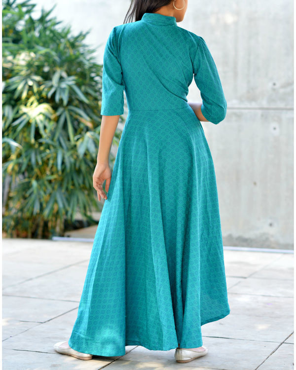 Teal high low flare kurta 1