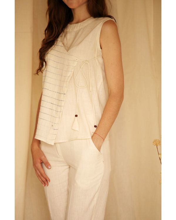 Streaked off-white angrakha top 2
