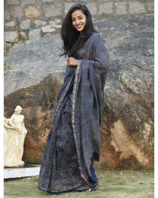 Indigo chanderi cotton sari 3