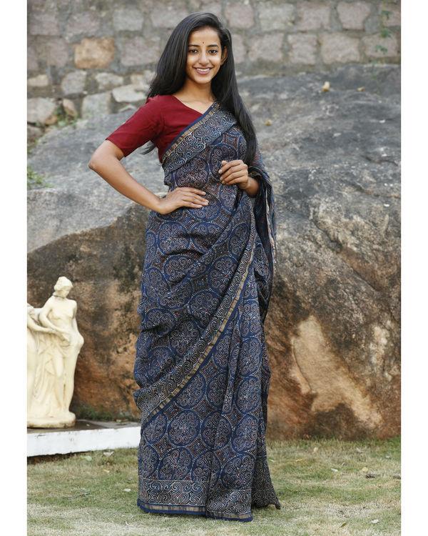 Indigo chanderi cotton sari 2