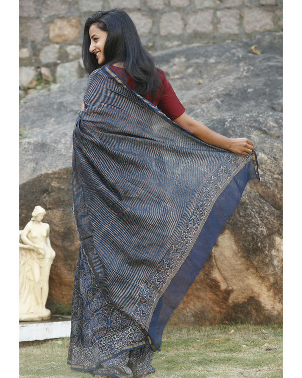 Indigo chanderi cotton sari 1