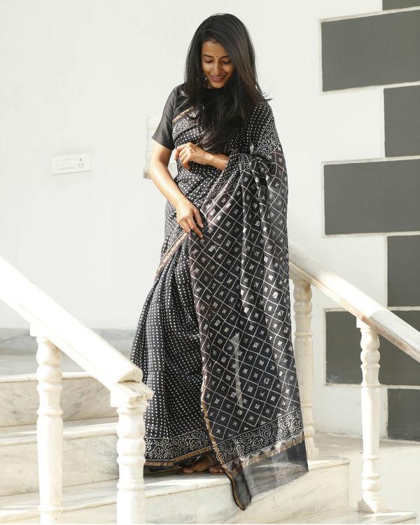 Black chanderi cotton sari 2