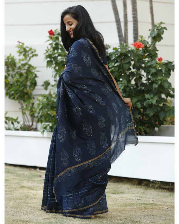 Indigo square chanderi cotton sari 2
