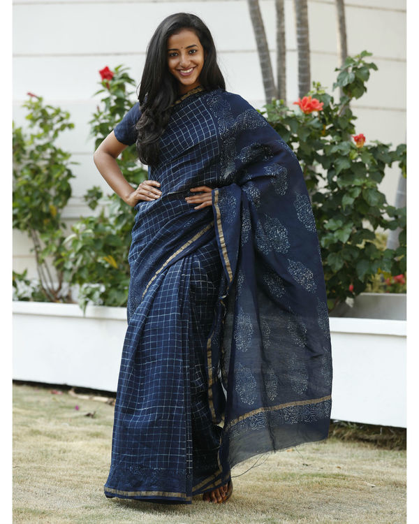 Indigo square chanderi cotton sari 1