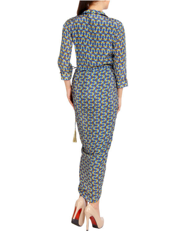 Blue collared dhoti dress 1