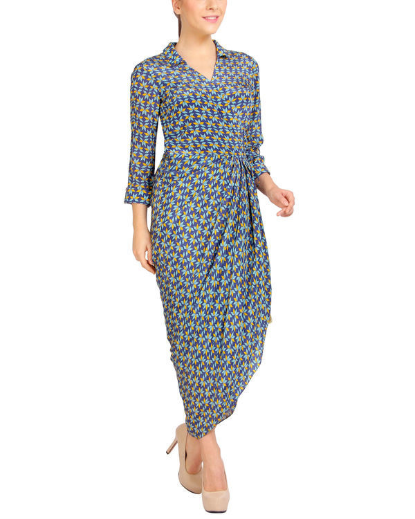 Blue collared dhoti dress 2