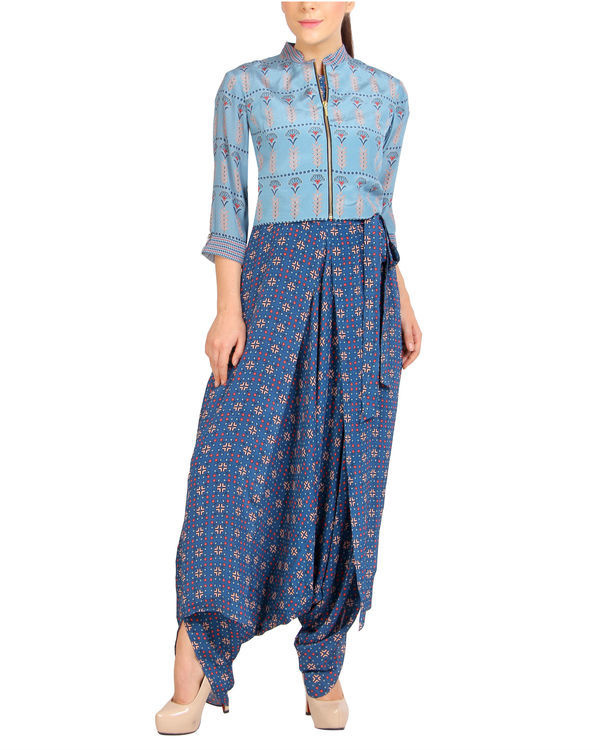 Printed blue jumpsuit with floral zipper jacket 2