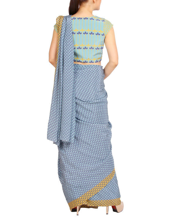 Blue scaled sari with cap sleeved blouse 2