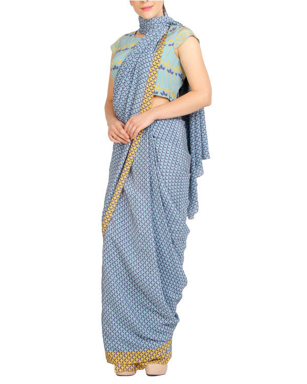 Blue scaled sari with cap sleeved blouse 1