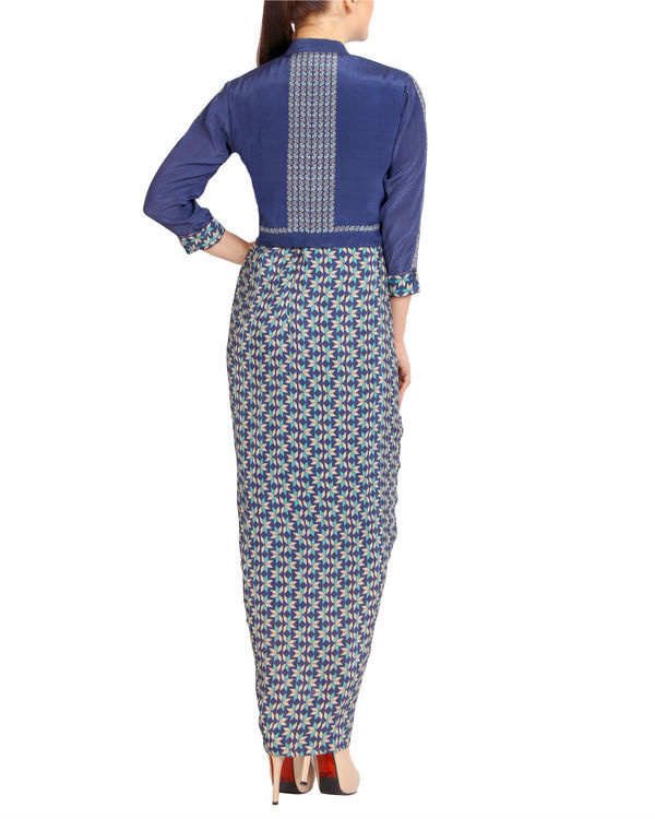 Blue pleated dhoti dress with a zipper jacket 1