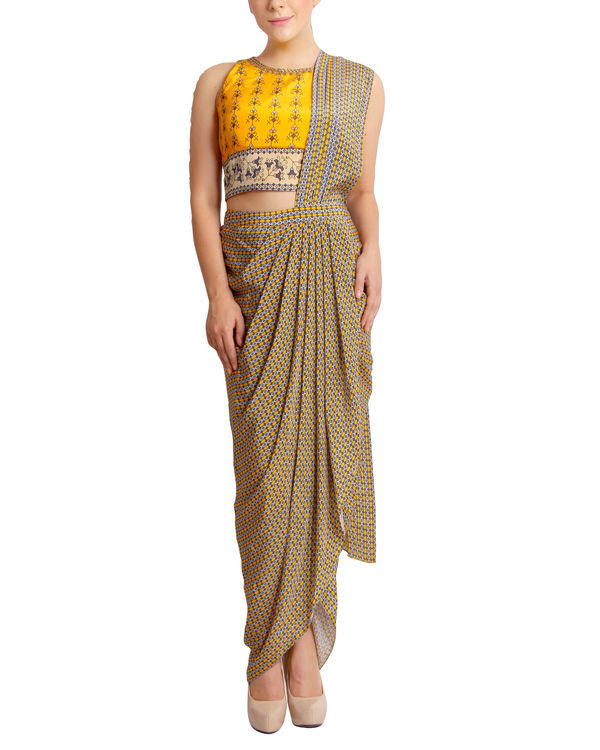 Printed yellow draped sari 1