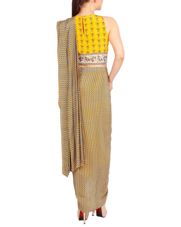 Printed yellow draped sari 2
