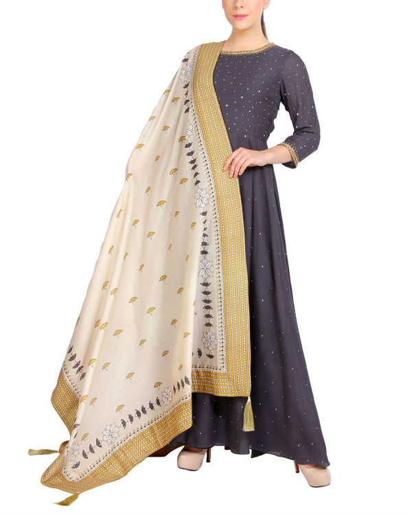 Charcoal sequins detailed dress with dupatta 3