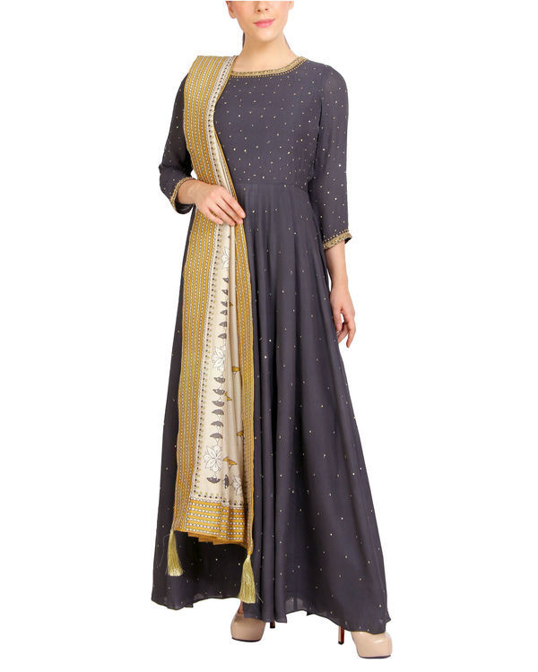Charcoal sequins detailed dress with dupatta 2