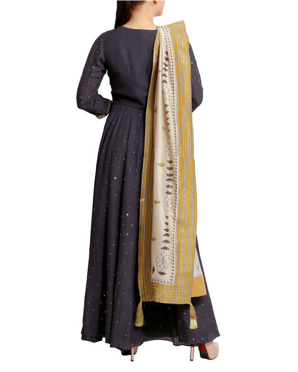 Charcoal sequins detailed dress with dupatta 1
