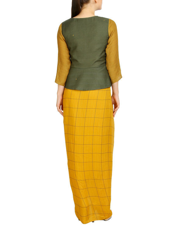 Green and mustard draped set 1