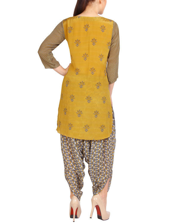 Mustard grey half and half kurta set 2