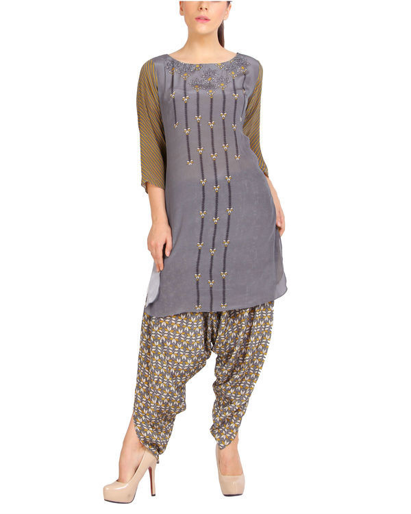 Mustard grey half and half kurta set 1