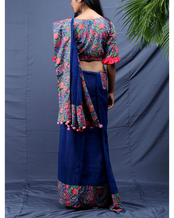 Gulista block printed sari with unstitched blouse 1