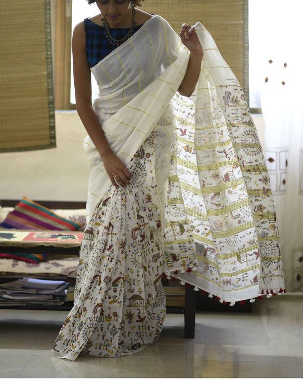 Off-white printed cotton sari 2