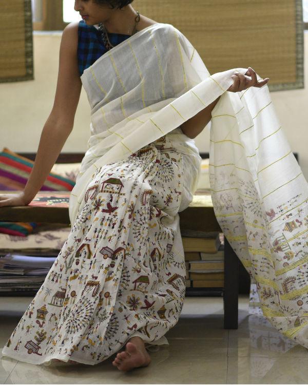 Off-white printed cotton sari 1