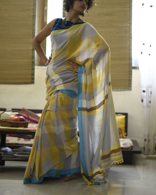 Mustard grey checkered sari 3