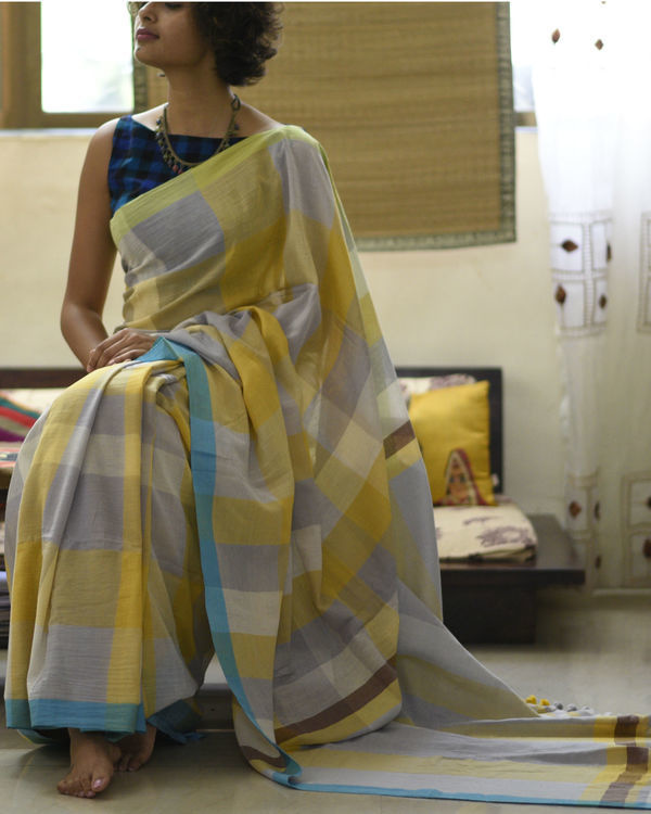 Mustard grey checkered sari 2