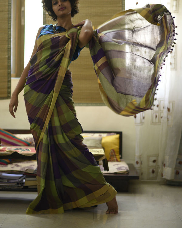 Purple green checkered sari 3