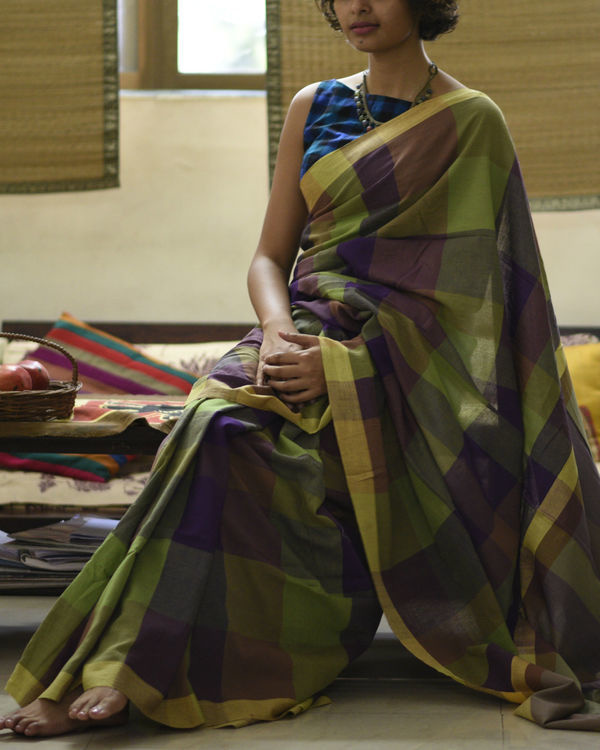Purple green checkered sari 2