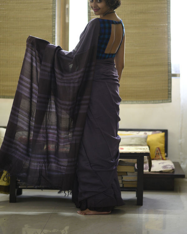 Purple striped pallu sari 4