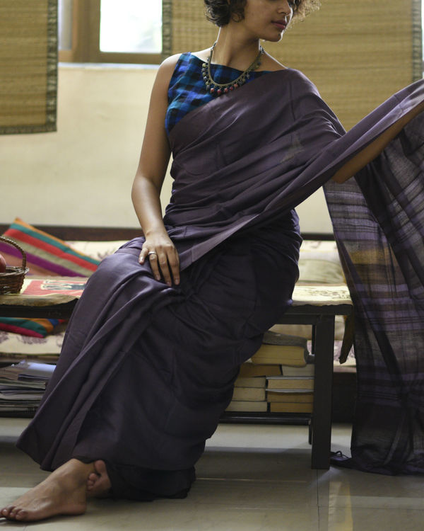 Purple striped pallu sari 3