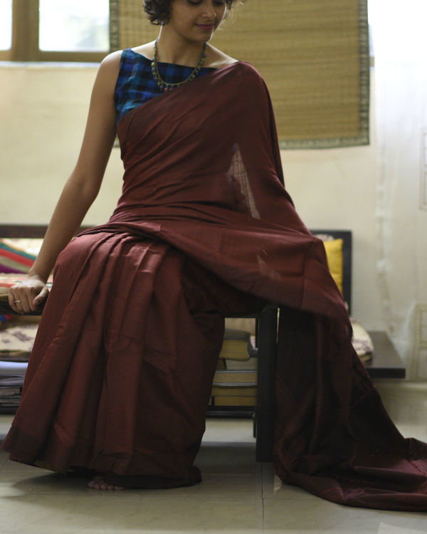 Maroon striped pallu sari 1