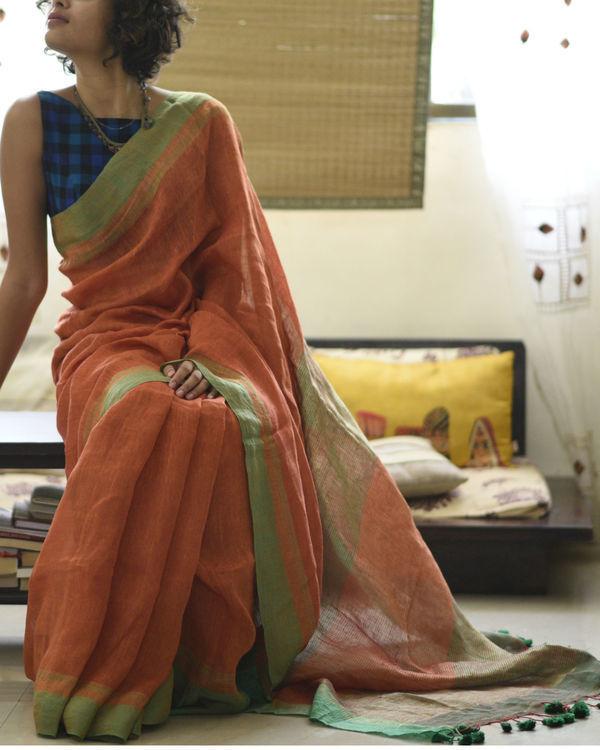 Orange green linen sari 3