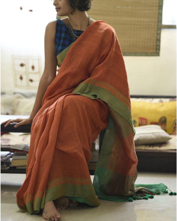 Orange green linen sari 2