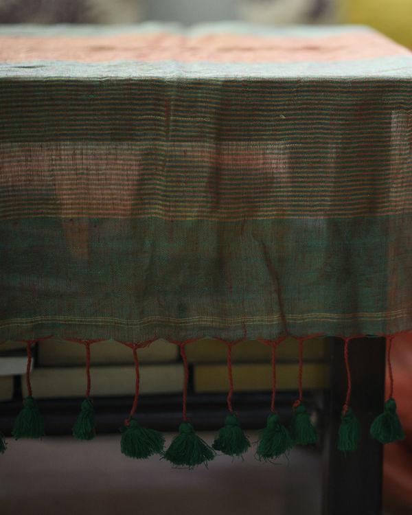 Orange green linen sari 1