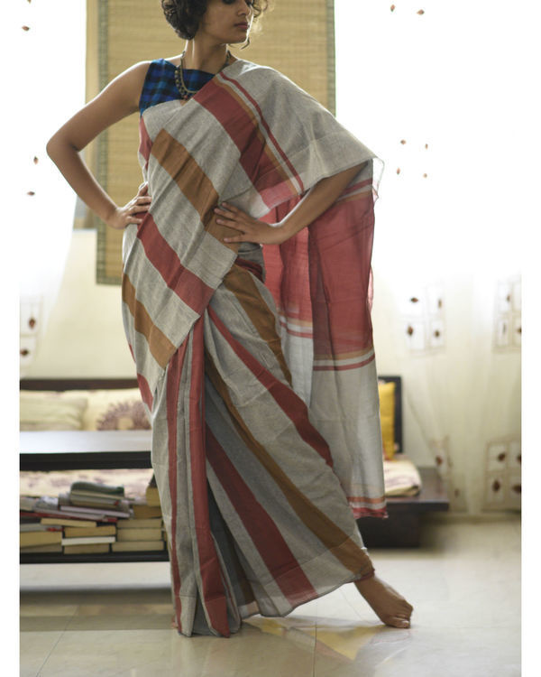Maroon and brown stripes in grey sari 3