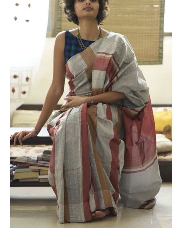 Maroon and brown stripes in grey sari 2