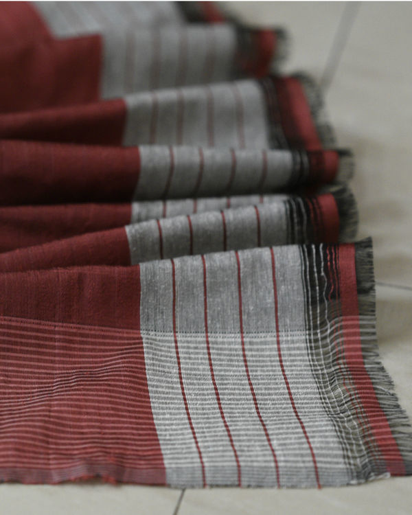 Maroon and brown stripes in grey sari 1